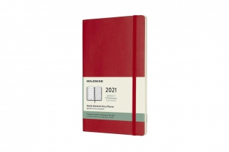 , Moleskine 12 MND Agenda - 2021 - Wekelijks - Large (13x21 cm) - Scarlet Rood - Zachte Kaft