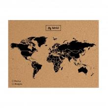 , Wereldkaart kurk L zwart 60 x 45cm