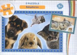 , Babydieren - puzzel 2 x 24 stukjes