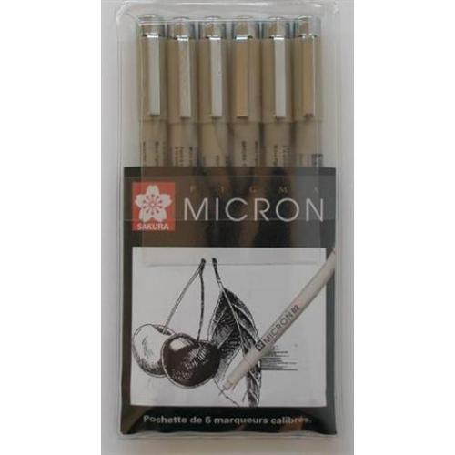 ,Fineliner Sakura pigma micron set 6stuks zwart