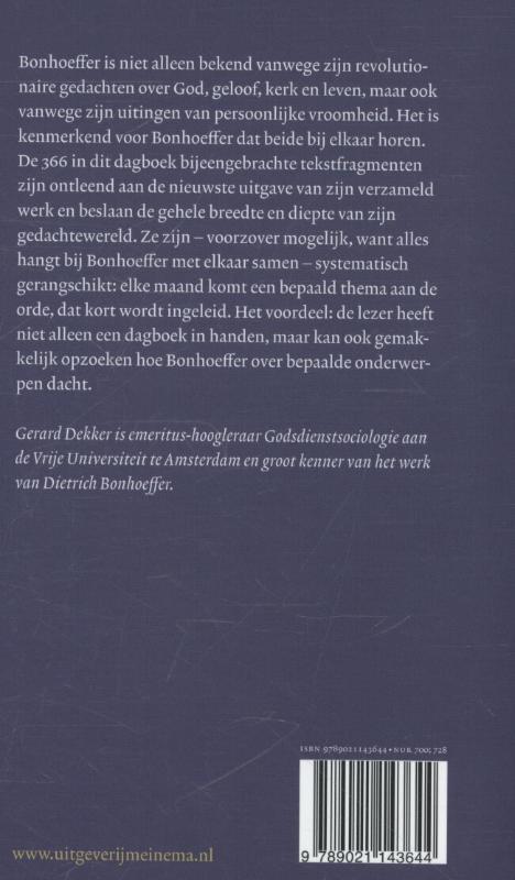 Dietrich Bonhoeffer,Een thematisch dagboek