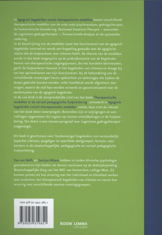 Fee van Delft, Gertjan Wijers,Agogisch begeleiden vanuit therapeutische modellen