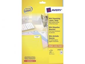 , laseretiket Avery 46x11,1mm wit 25 vel 84 etiketten per vel