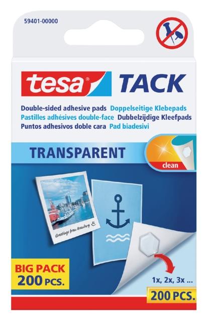 ,Dubbelzijdige kleefpads Tesa tack transparant 200stuks