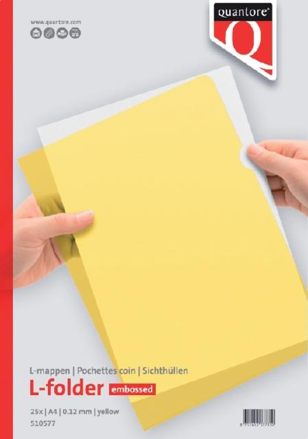 ,Insteekmap L-model Quantore A4 PP 0.12mm geel 25 stuks