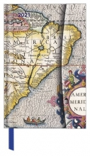 , Agenda 2021 teneues antique maps links wek rechts notitie 10x15 cm magneetsluiti