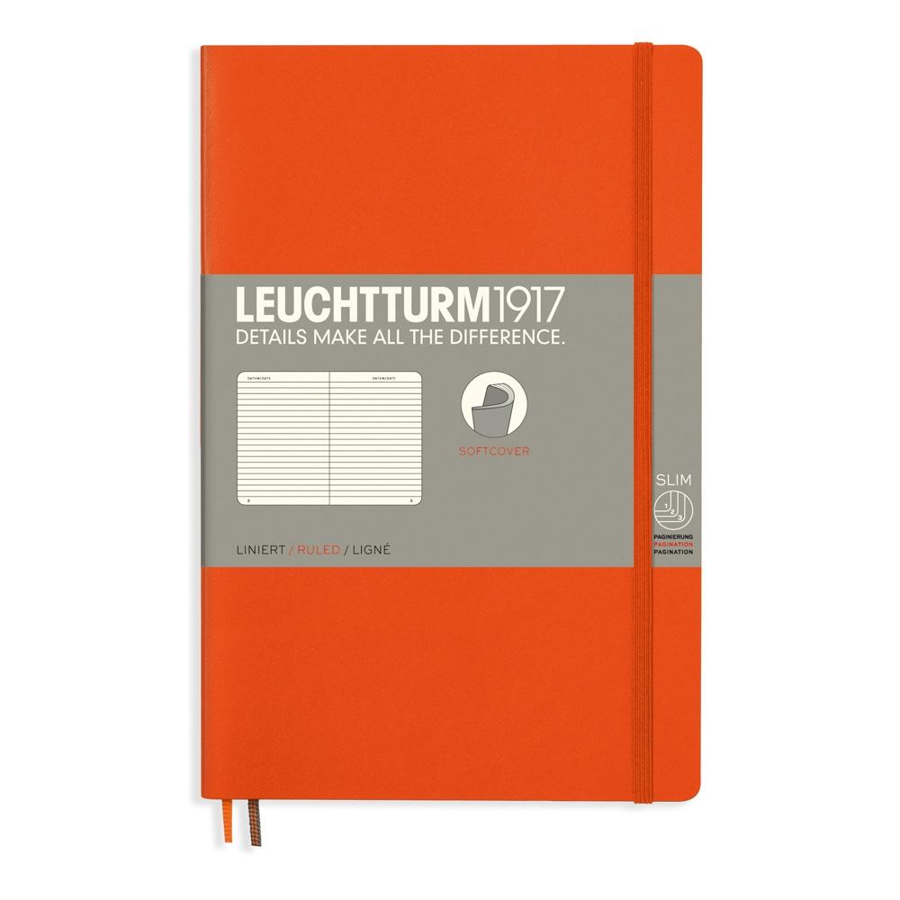 Lt358299,Leuchtturm notitieboek softcover 19x12.5 cm lijn oranje