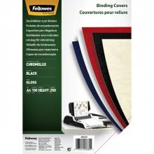 , Voorblad Fellowes A4 Chromolux 250gr zwart 100stuks