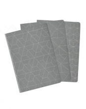 Heko Lined Plain Dot Grid Cahiers 3 Pack Grey Medium