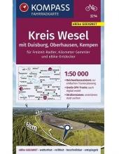 Kompass-Karten Gmbh , KOMPASS Fahrradkarte Kreis Wesel mit Duisburg, Oberhausen, Kempen 1:50.000, FK 3214