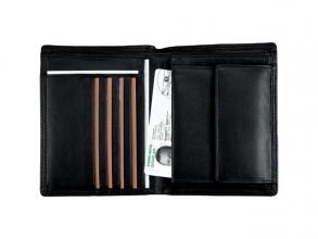 , Combi Portefeuille Alassio met RFID Document Safe, zwart    nappaleer, 10 x 12,5 cm.