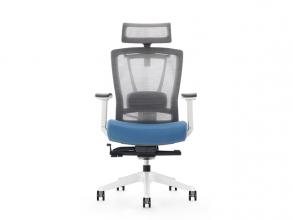 , Bureaustoel luxe Kangaro netstof. Multi verstelbaar met     hoofdsteun, grijs/blauw