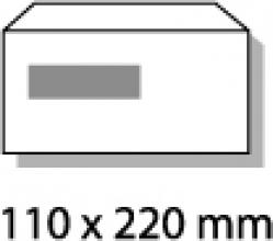 , dienstenvelop venster links Raadhuis 110x220mm DL (EA5/6)   wit gegomd doos a 500 stuks