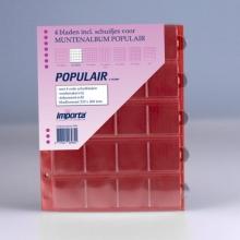 0820r , Importa populair muntalbumbladen 4 stuks 20 vaks rode schutbladen