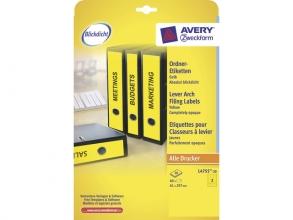 , ordnerrugetiket Avery 297x61mm geel 20 vel 3 etiketten per  vel
