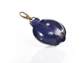 , sleutelhanger Mika groot zadelleer opberg vak voor munten.  blauw