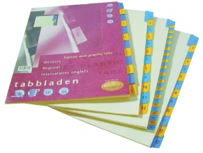 , Tabbladen Multo A4 23-gaats 12-delig jan-dec karton 190gr