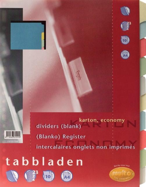 ,Tabbladen Multo A4 23R 10-delig karton assorti
