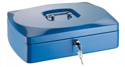 , geldkistje Alco 330x235x90mm staal blauw
