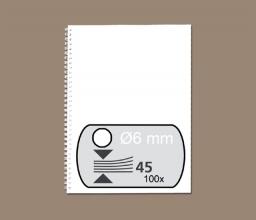 , Draadrug Fellowes 6mm 34-rings A4 wit 100stuks