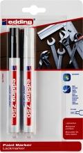 , Viltstift edding 750 lakmarker rond 2-4mm blister zwart en wit