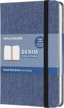 , Moleskine LE Notitieboek Denim Notebook Pocket (9x14 cm) Gelinieerd Antwerp Blauw