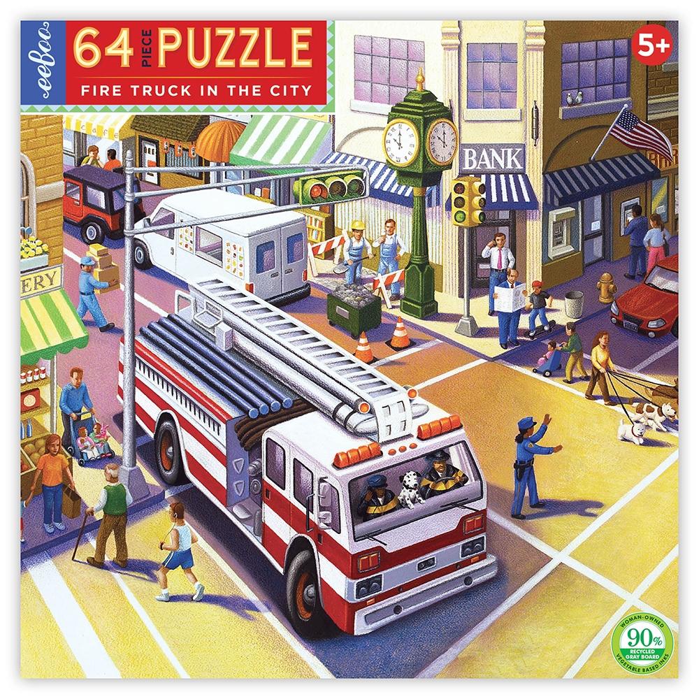 ,Puzzel eeboo - fire truck in the city - 64 stukjes - 38x38 cm