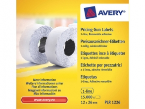 , prijstangetiketten Avery non-permanent 26x12mm wit 10 rol   in doos