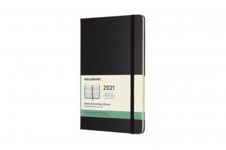 , Moleskine 12 MND Agenda - 2021 - Wekelijks - Vertical Large (13x21 cm) - Zwart - Harde Kaft