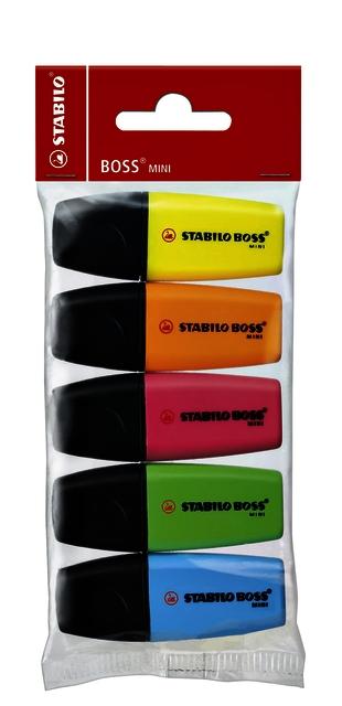 ,Markeerstift STABILO Boss mini Pop blister à 5 kleuren