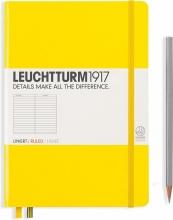 Lt344798 , Leuchtturm notitieboek medium 145x210 lijn lemon geel