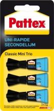 , Secondelijm Pattex Classic mini trio tube 3x1gram op blister