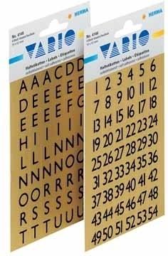 ,Etiket Herma 4145 13x12mm letters A-Z zwart op goud