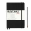 <b>Lt357798</b>,Leuchtturm weekly planner 2019 medium zwart links agenda, rechts notities