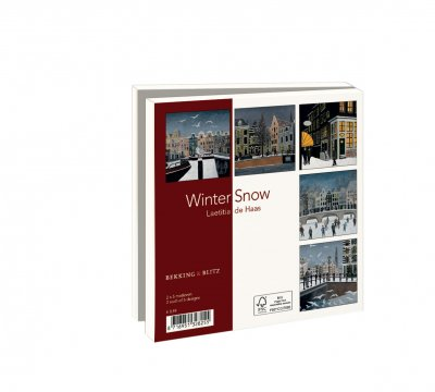 Wmc1008,Kerstkaart mapje 10 stuks met env winter snow laetitia de haas