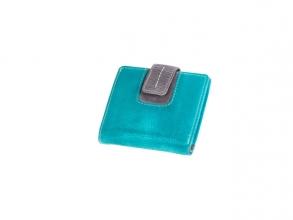 , Portefeuille Mika turquoise/grijs leer. 9x10x2cm