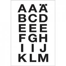 ,Etiket Herma 4135 20x20mm letters A-Z zwart op transparant