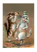 Two Cats Dancing with Confetti Congratulations Greeting Cards [With Envelope]