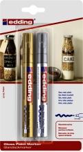 , Viltstift edding 750 lakmarker rond 2-4mm blister goud en zilver