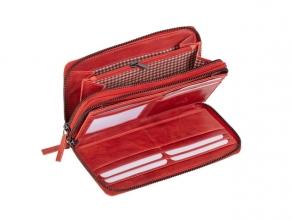 , Portefeuille Mika rood Leer 19,5x10,5x3cm