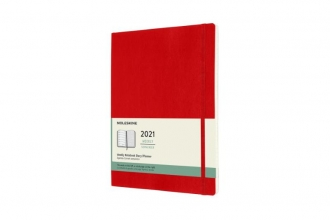 , Moleskine 12 MND Agenda - 2021 - Wekelijks - XL (13X25 cm) - Scarlet Rood - Zachte Kaft