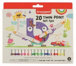 , Viltstift Bruynzeel Kids Twin Points blister à 20 stuks assorti