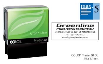 , Tekststempel Colop 30 green line+bon 5regels 47x18mm