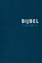 , Bijbel (HSV) met Psalmen - blauw leer met zilversnee, rits en duimgrepen