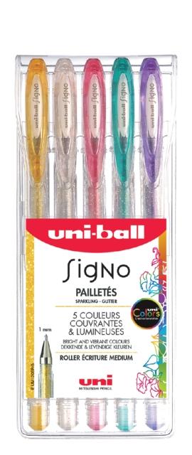 ,Gelschrijver Uni-ball Signo glitter etui à kleuren