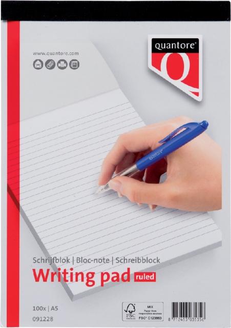 ,Schrijfblok Quantore A5 gelinieerd
