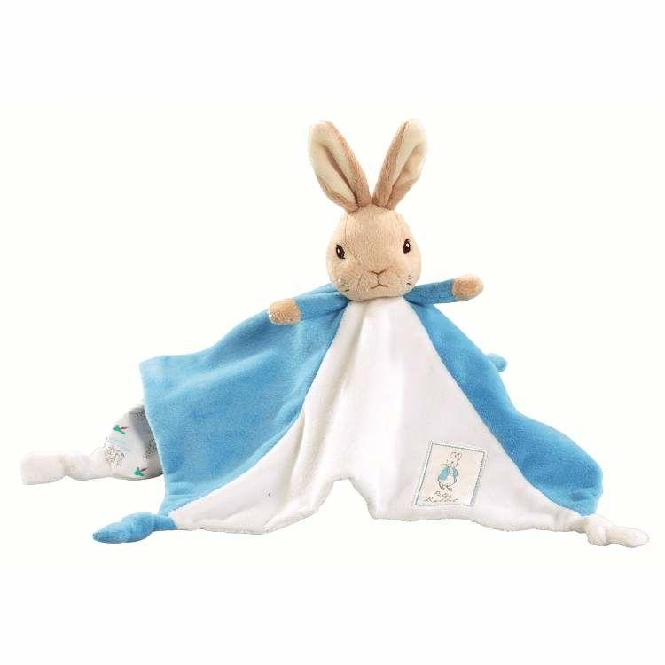 ,Peter Rabbit knuffeldoekje/tutje blauw 30cm (6x in verpakking)