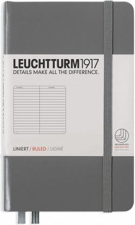 Lt344775,Leuchtturm notitieboek pocket 90x150 lijn anthraciet