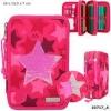 ,<b>Topmodel 3-vaks etui - gevuld - ster met pailetten - roze</b>