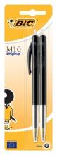, Balpen Bic M10 zwart medium blister à 2st